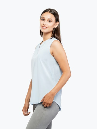 Women's Chambray Juno Sleeveless Blouse on Model Facing Left