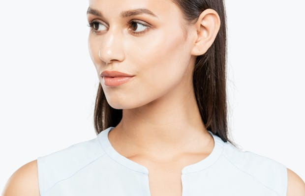 Women's Chambray Juno Sleeveless Blouse on Model Facing Forward in Close-Up of Neckline