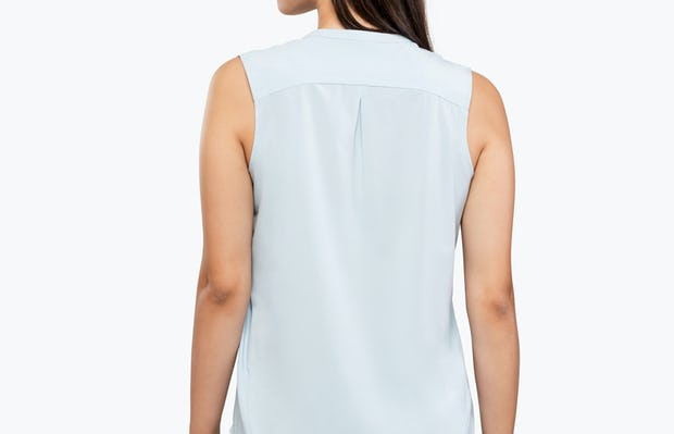 Women's Chambray Juno Sleeveless Blouse on Model Facing Backwards