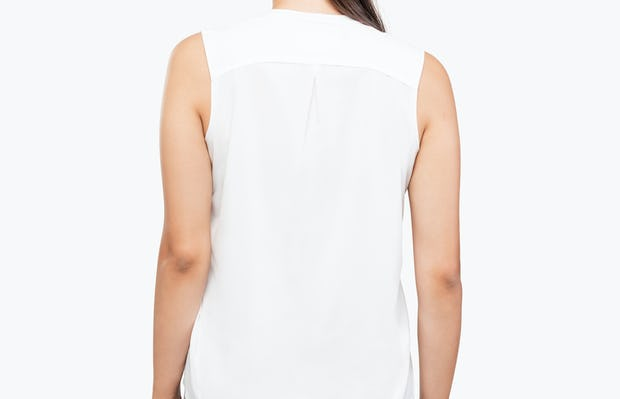 Women's White Juno Sleeveless Blouse on Model Facing Backwards