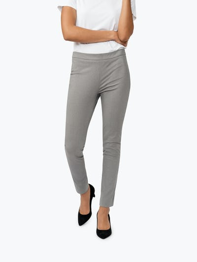 Women's Grey Heather Kinetic Skinny Pants on Model Walking Forward