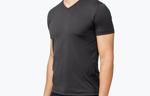 Men's Black Responsive Tee model facing off-right