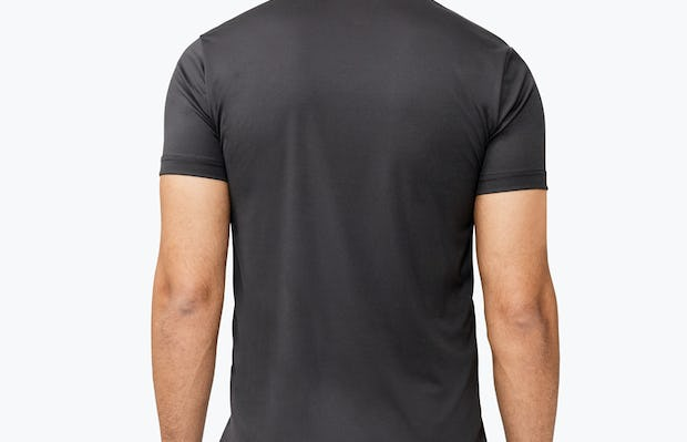 Men's Black Responsive Tee model facing away from camera