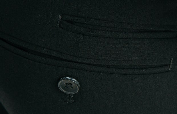 Men's Black Velocity Dress Pant in Close-Up of Back Pockets