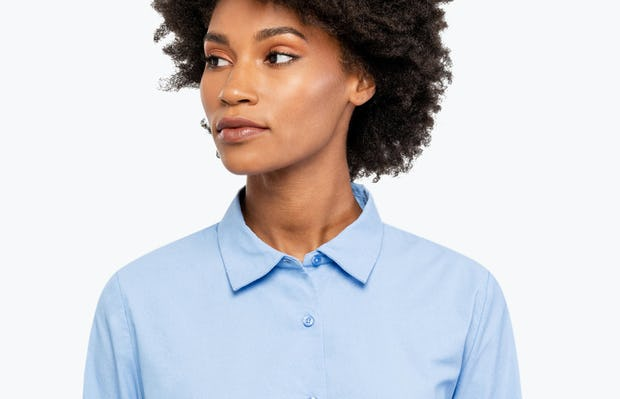 Women's Aero Dress Shirt - Solid Blue Nylon - Image 6