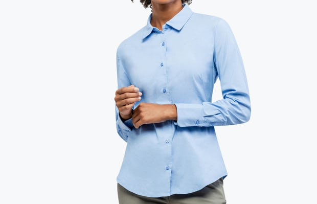 Women's Aero Dress Shirt - Solid Blue Nylon - Image 9