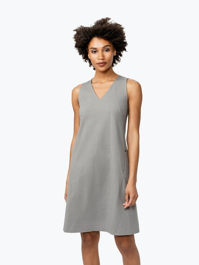 Women's Grey Heather Kinetic A-Line Dress on Model Facing Forward