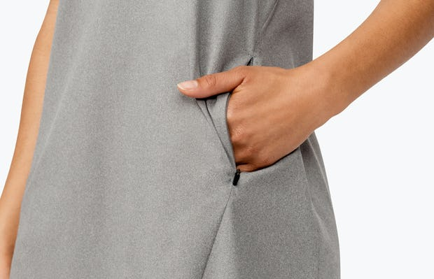Women's Grey Heather Kinetic A-Line Dress on Model in Close-up of Pocket