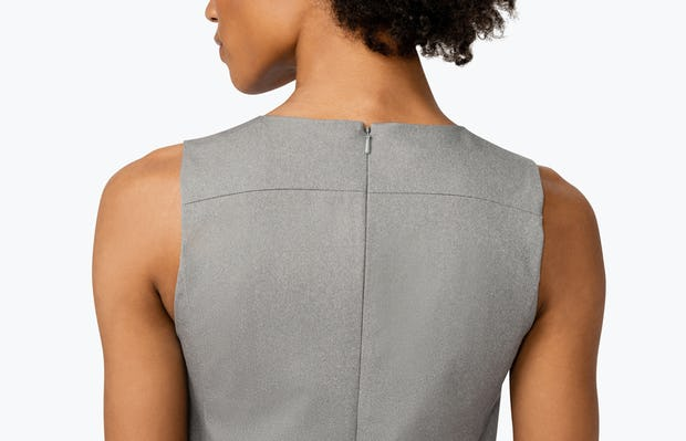 Women's Grey Heather Kinetic A-Line Dress on Model Facing Backward