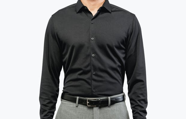 Men's Black Brushed Apollo Dress Shirt model facing forward