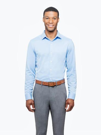 Men's Light Blue Brushed Apollo Dress Shirt on Model Facing Forward