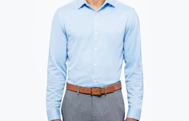 Men's Light Blue Brushed Apollo Dress Shirt on Model Facing Forward