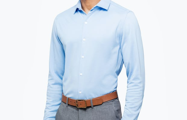 Men's Light Blue Brushed Apollo Dress Shirt on Model Facing Right
