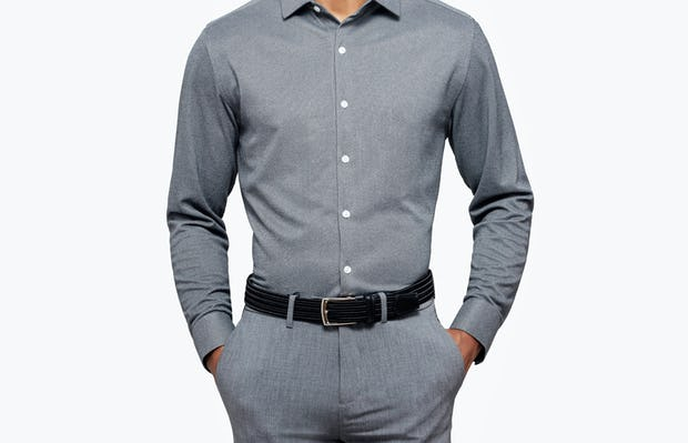 Men's Charcoal Oxford Brushed Apollo Dress Shirt on Model Facing Forward with Hands in Pant Pockets