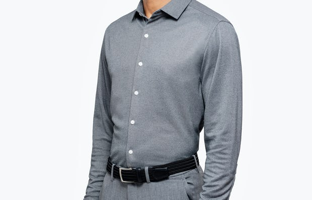 Men's Charcoal Oxford Brushed Apollo Dress Shirt on Model Facing Right