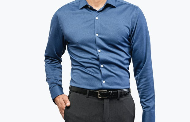 Men's Navy Oxford Brushed Apollo Dress Shirt on Model Facing Forward with Hand in Pant Pocket