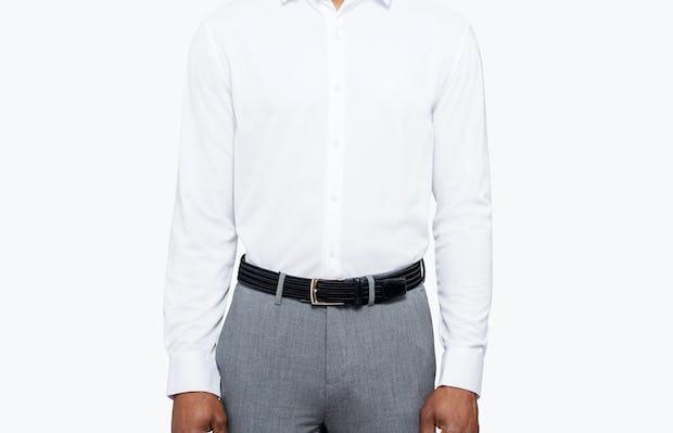 Men's White Apollo Dress Shirt model facing forward