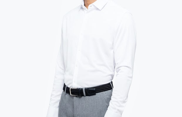 Men's White Apollo Dress Shirt model facing forward and to the left
