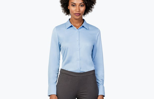 Women's Light Blue Apollo Tailored Shirt on Model with Shirt Tucked In