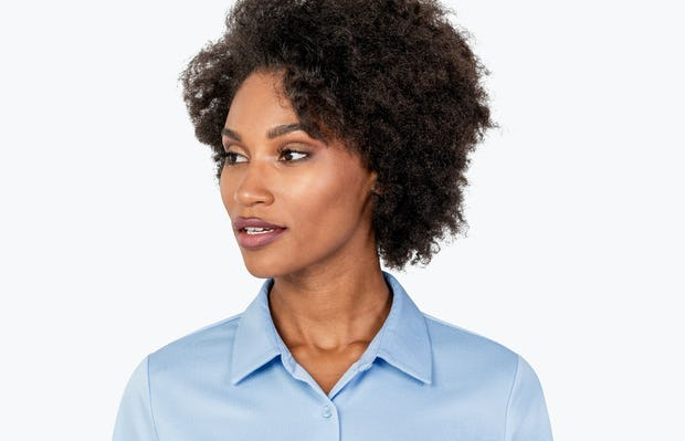 Women's Light Blue Apollo Tailored Shirt on Model in Close-up of Front of Shirt Collar