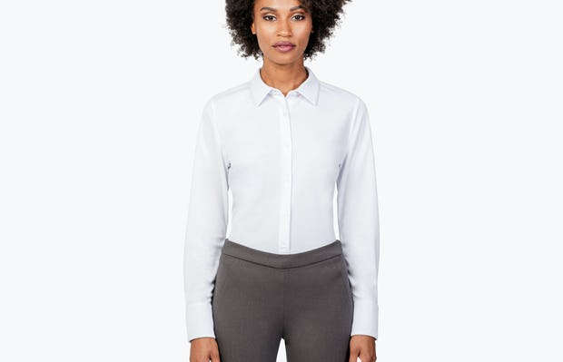 Women's White Apollo Tailored Shirt on Model with Shirt Tucked In