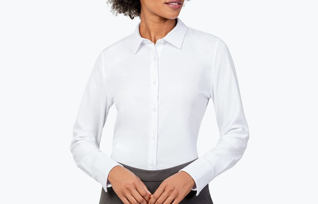 Women's White Apollo Tailored Shirt on Model Looking to Her Left