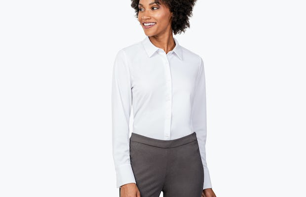 Women's White Apollo Tailored Shirt on Model Looking to Her Right
