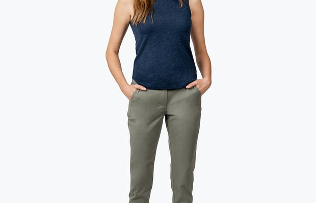 Women's Olive Momentum Chino on Model Facing Forward