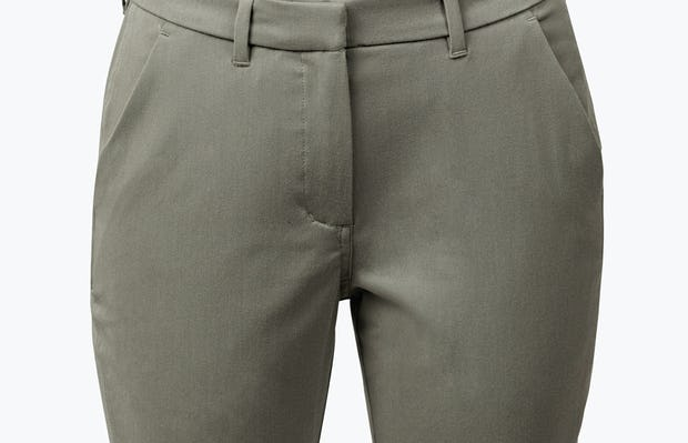 Women's Olive Momentum Chino on Model in Close-up of Front of Pant