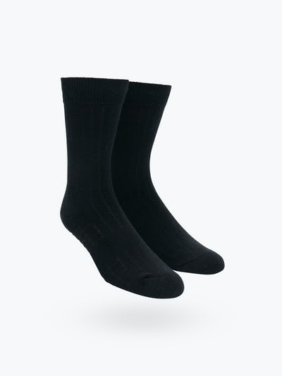 Atlas Dress Sock - Black Rib Knit - Main Image