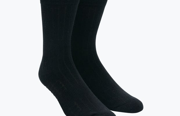 Atlas Dress Sock - Black Rib Knit - Main Image