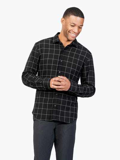 Men's Black Fusion Overshirt model facing forward with hands together