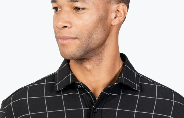 Men's Black Fusion Overshirt headshot of model looking to the right
