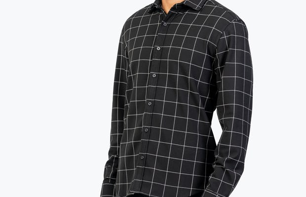 Men's Black Fusion Overshirt model facing forward and to the right