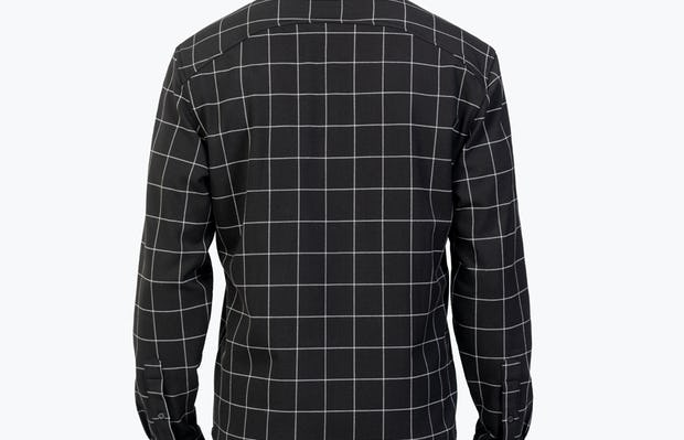 Men's Black Fusion Overshirt model facing backward