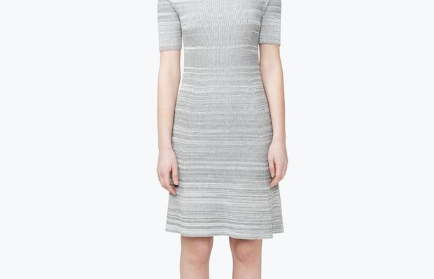 Women's 3D Print-Knit Dress - Barcode Grey - Image 1