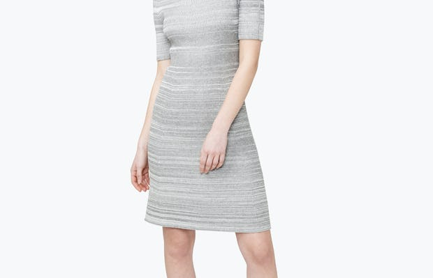 Women's 3D Print-Knit Dress - Barcode Grey - Image 8