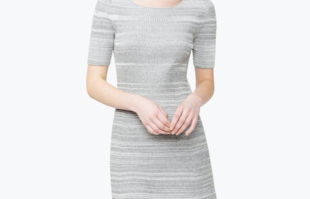 Women's 3D Print-Knit Dress - Barcode Grey - Image 9