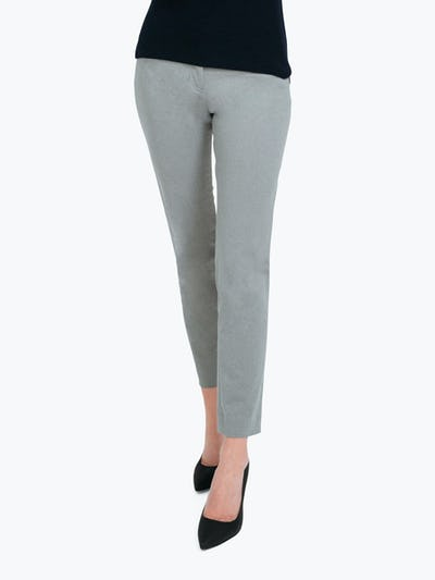 Women's Grey Heather Kinetic Slim Pants on Model Walking Forward