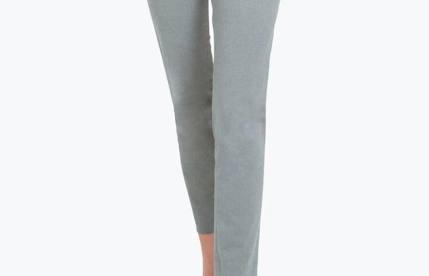 Women's Grey Heather Kinetic Slim Pants on Model Walking Forward