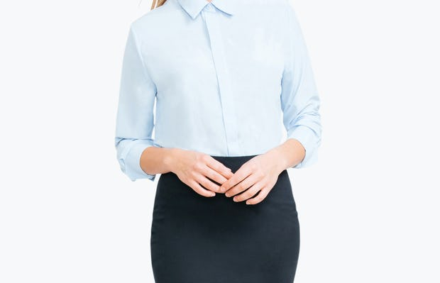 Women's Navy Kinetic Pencil Skirt on Model with Hands by Her Waist
