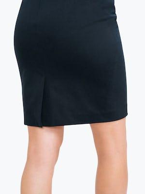 Women's Navy Kinetic Pencil Skirt on Model in Close-up of Skirt Hem