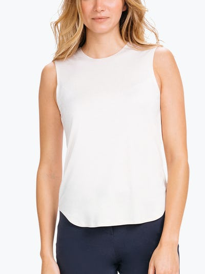 Women's Blush Luxe Touch Tank on Model Facing Forward