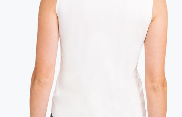 Women's Blush Luxe Touch Tank on Model Facing Backward