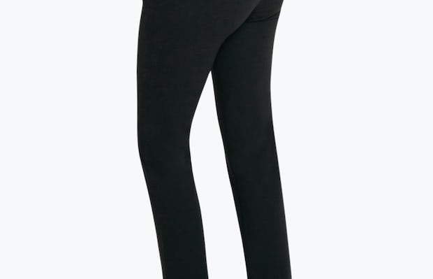Women's Black Velocity Classic Crop Pant on Model Facing to the Back and Left