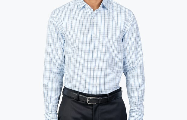 Men's Aero Zero Dress Shirt - Blue Tattersall - Image 6