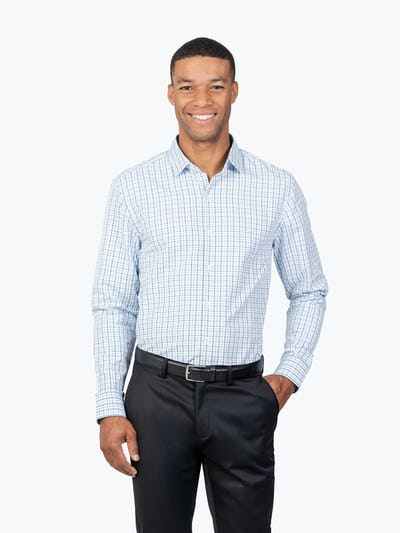 Men's Aero Zero Dress Shirt - Blue Tattersall - Main Image