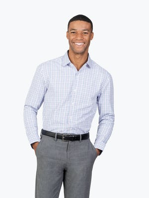 Men's Lavender Tattersall Aero Zero Dress shirt model facing forward with hands in pockets