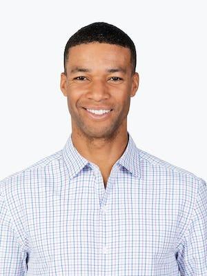 Men's Lavender Tattersall Aero Zero Dress shirt headshot