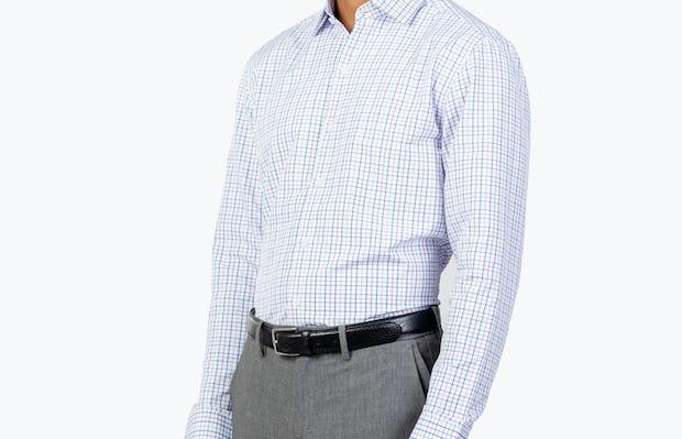 Men's Lavender Tattersall Aero Zero Dress shirt model facing forward and to the right